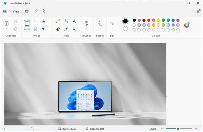 Windows 11 Paint, with rounded icons and less text than before